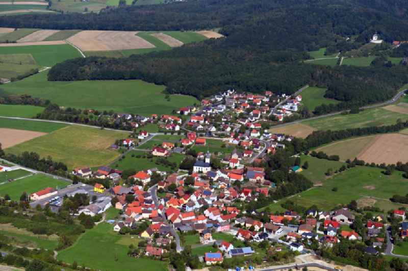 Village view on the edge of agricultural fields and land in Gunzendorf in the state Bavaria, Germany
