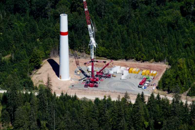 Construction site for wind turbine installation in Gutsbezirk Kaufunger Wald in the state Hesse, Germany