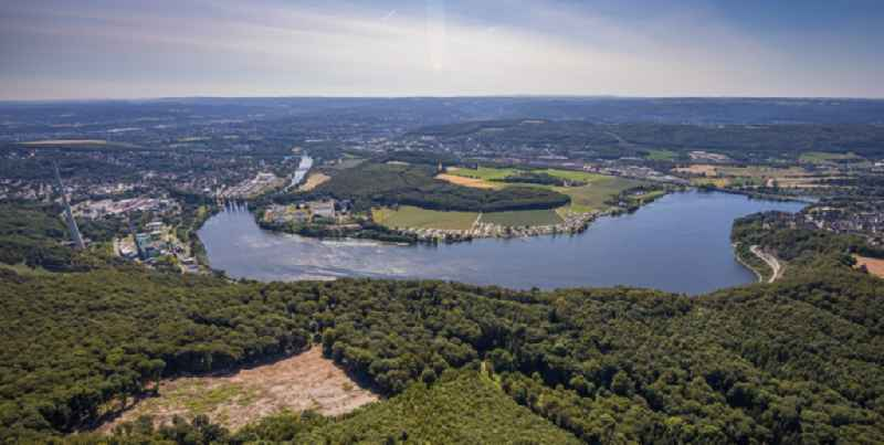 Riparian areas on the lake area of ' Harkortsee ' in Hagen in the state North Rhine-Westphalia, Germany