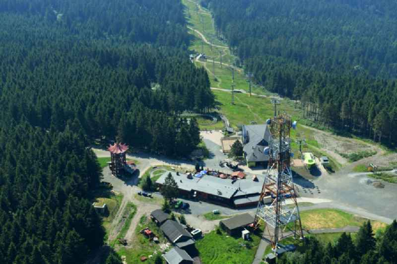 Mountain slope with downhill ski slope and cable car - lift on Bocksberg in Hahnenklee in the state Lower Saxony, Germany