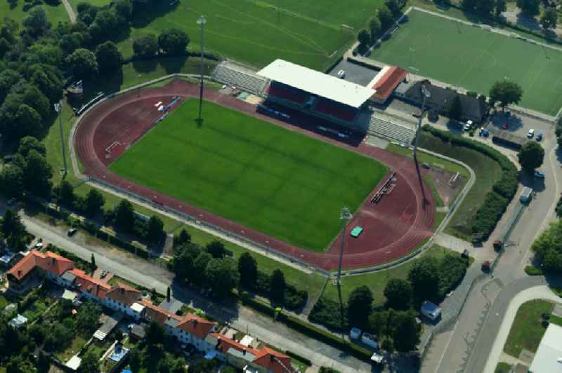 Football stadium ' Friedenstadion ' in Halberstadt in the state Saxony-Anhalt, Germany.