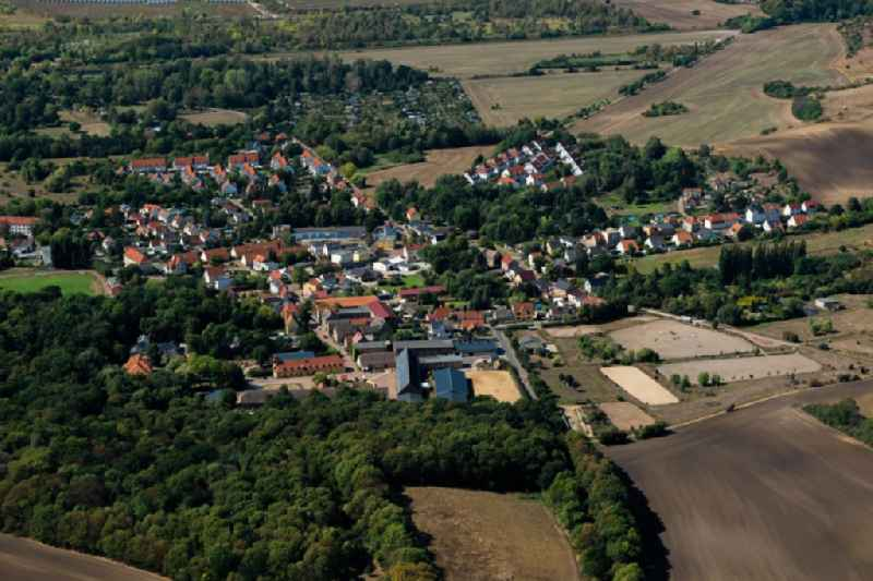 Village - view on the edge of forested areas in Halle (Saale) in the state Saxony-Anhalt, Germany.
