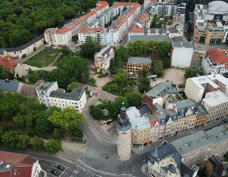 Tower Leipziger Turm and the lower and upper Leipziger Strasse (Boulevard) in Halle an der Saale in the state of Saxony-Anhalt