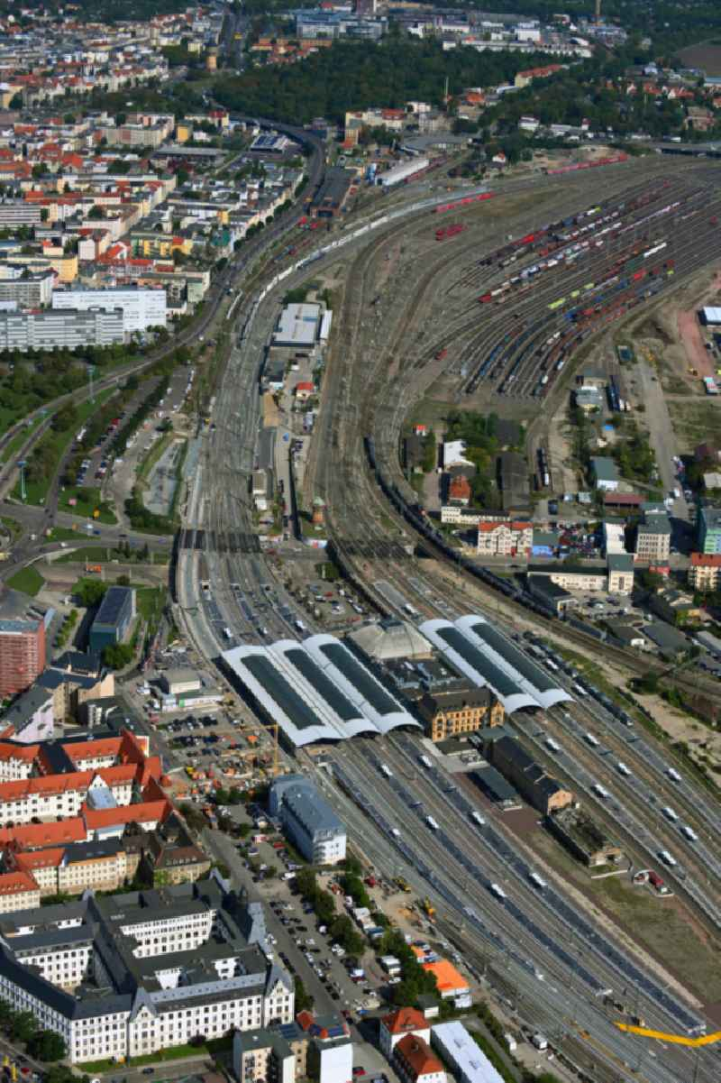 Track progress and building of the main station of the railway in Halle (Saale) in the state Saxony-Anhalt, Germany