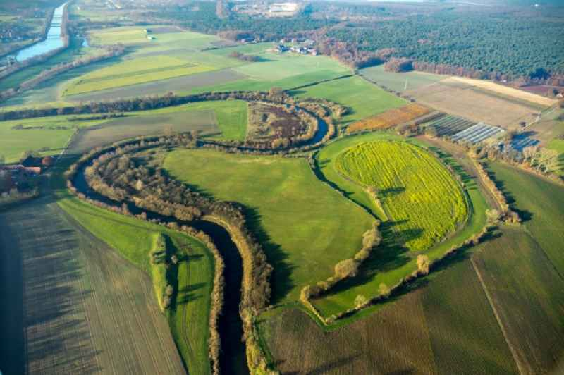 Curved loop of the riparian zones on the course of the river Lippe in Haltern am See in the state North Rhine-Westphalia, Germany.