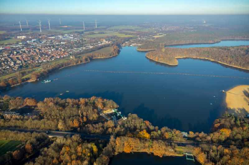 Impoundment and shore areas at the lake ' Halterner Stausee ' in Haltern am See in the state North Rhine-Westphalia, Germany.