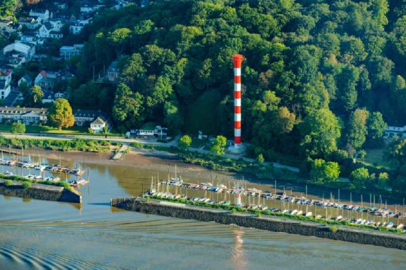 Lighthouse as a historic seafaring character in the coastal area of Elbe Leuchtturm Blankenese, Unterfeuer in Hamburg, Germany