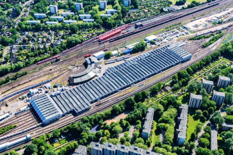 Railway depot and repair shop for maintenance and repair of trains ' ICE Intercity Express ' in the district Eidelstedt in Hamburg, Germany