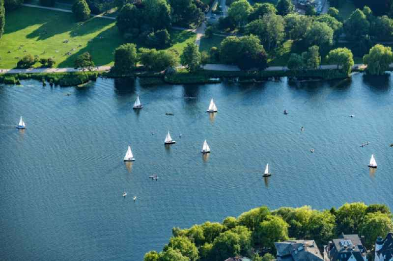 Sailboat under way on the Aussenalster in the district Uhlenhorst in Hamburg, Germany