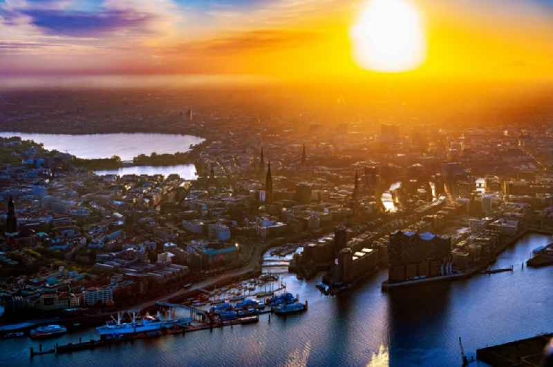 City view on down town by sunset on the shore of Elbe River in Hamburg, Germany