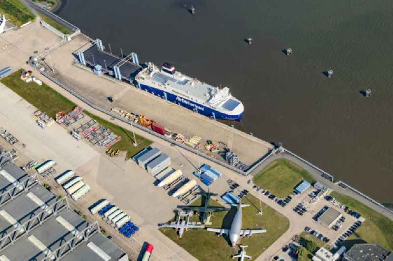 Ferry dock for ferries of the Airbus plant in Finkenwerder in the harbor in Hamburg, Germany