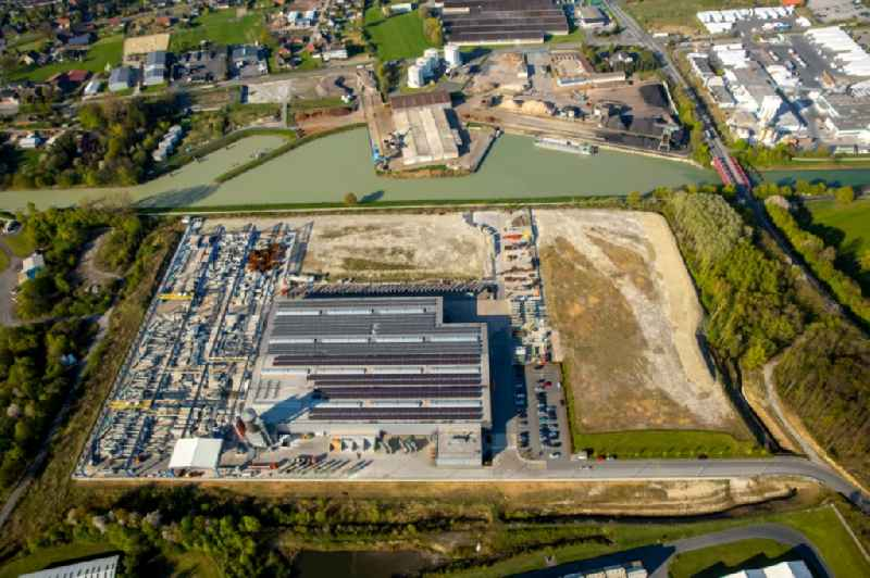 Premises and facilities of the building and construction company Goldbeck on the riverbank of Datteln-Hamm-Kanal in the Uentrop district of Hamm in the state of North Rhine-Westphalia