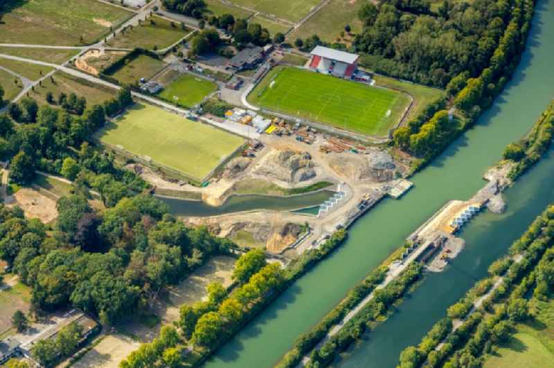 Construction site of the canal works on the course of the Datteln-Hamm-Kanal and Ahse in Hamm in the state North Rhine-Westphalia, Germany.