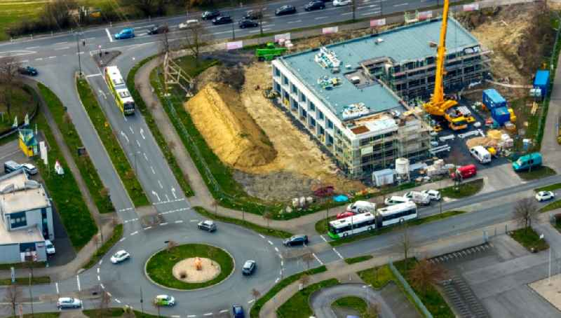 Construction site for the new construction of an office and commercial building of the Sparkasse in the district Westtuennen in Hamm in the state North Rhine-Westphalia, Germany