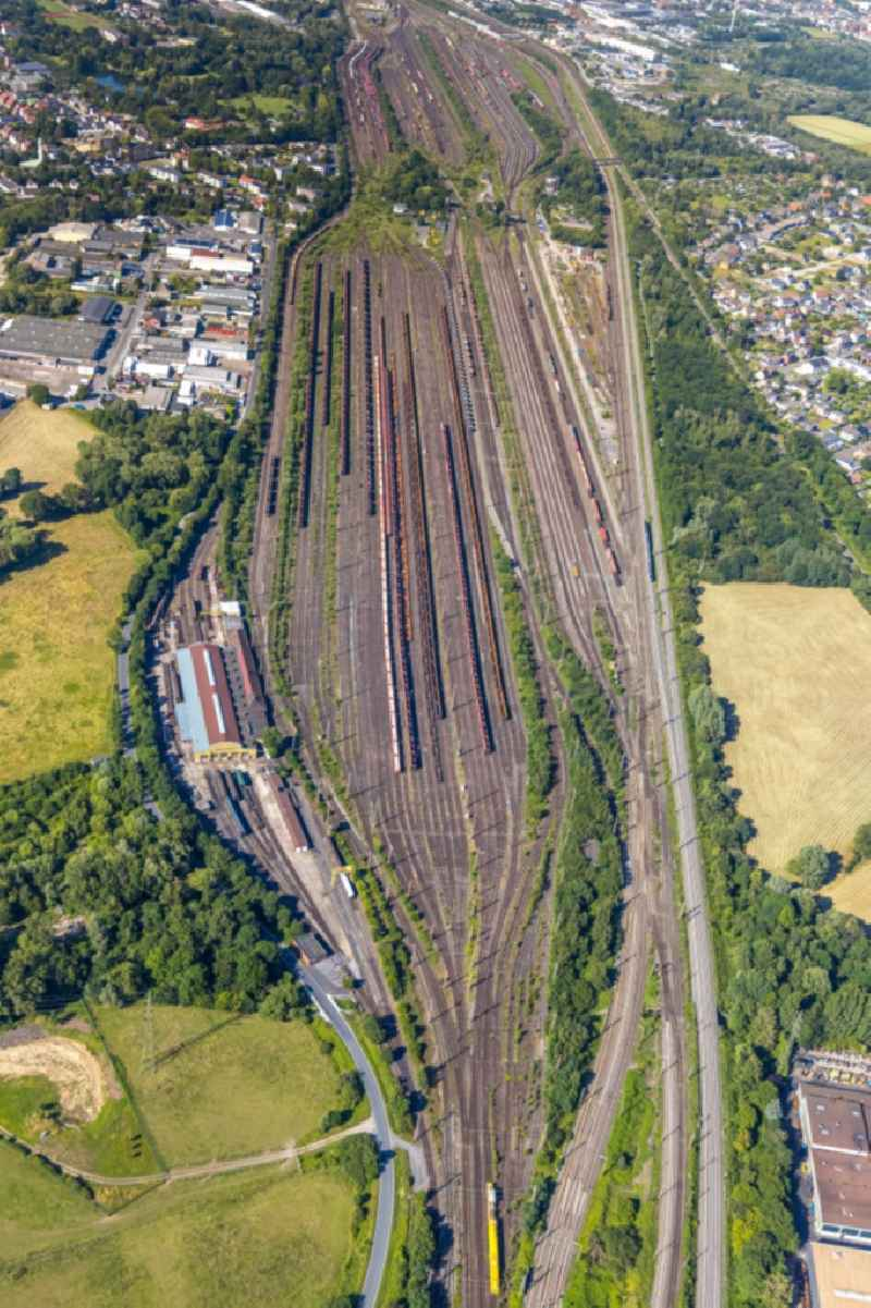 Marshalling yard and freight station of the Deutsche Bahn in Hamm in the state North Rhine-Westphalia, Germany