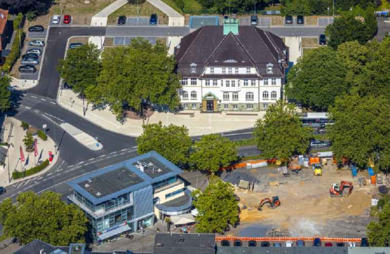 Town Hall building of the City Council with a construction site to convert the market place at the downtown in the district Heessen in Hamm in the state North Rhine-Westphalia, Germany