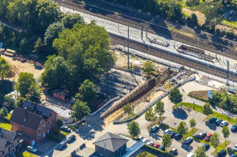 Construction work for the reconstruction of the station building of Heessener Bahnhof for the planned 'Regional-Ruhr-Express' in Hamm in the state North Rhine-Westphalia, Germany