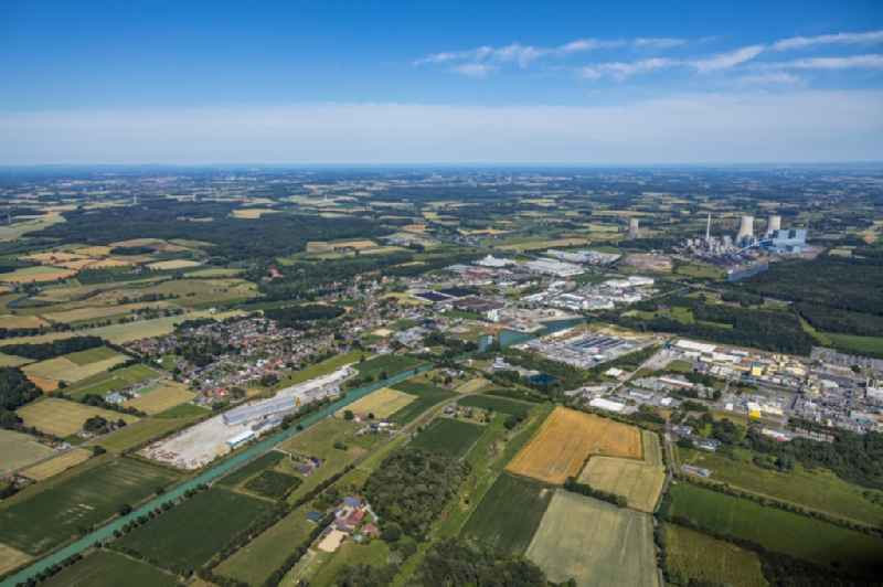 Industrial and commercial area along the Datteln-Hamm-Kanal in the district Uentrop in Hamm in the state North Rhine-Westphalia, Germany