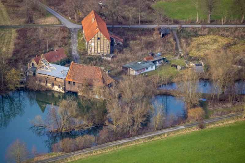 Castle mill on Muehlenteich pond in the Heessen part of Hamm in the state of North Rhine-Westphalia
