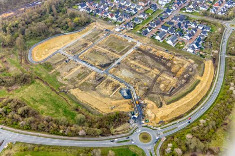 Residential area construction site of a mixed development with multi-family houses and single-family houses- New building Heimshof Ost on Sachensenring in the district Heessen in Hamm at Ruhrgebiet in the state North Rhine-Westphalia, Germany