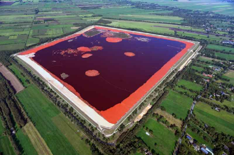 Site of the red mud disposal site in Hammah in the state Lower Saxony, Germany. The red mud is a waste product resulting from the extraction of alumina