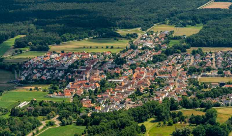 Surrounded by forest and forest areas center of the streets and houses and residential areas in Hanhofen in the state Rhineland-Palatinate, Germany