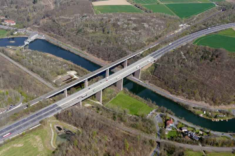 Routing and lanes in the course of the motorway bridge structure of the BAB A 7 in Hann. Muenden in the state Lower Saxony, Germany