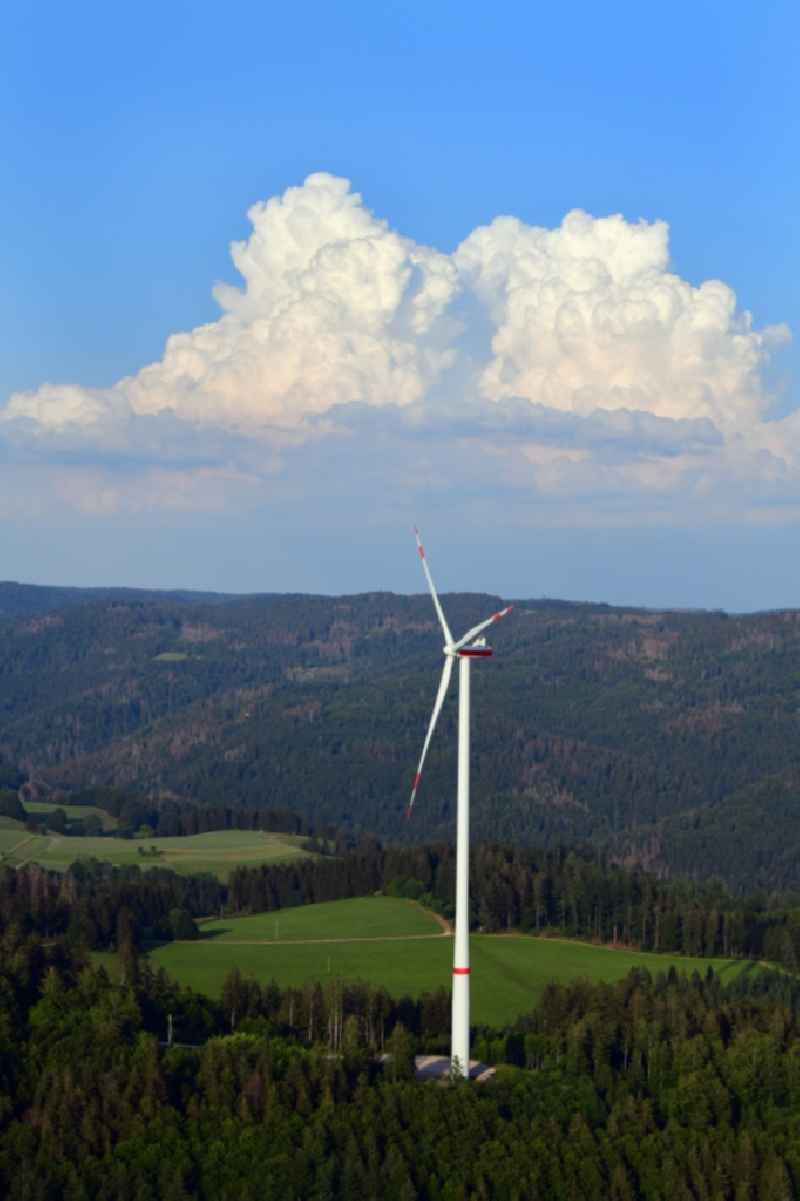Wind turbine of the wind farm Glaserkopf in the Southern Black Forest in Hasel, Baden-Wuerttemberg