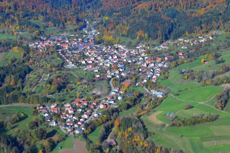 Surrounded by forest and forest areas center of the streets and houses and residential areas in Hasel in the state Baden-Wuerttemberg, Germany
