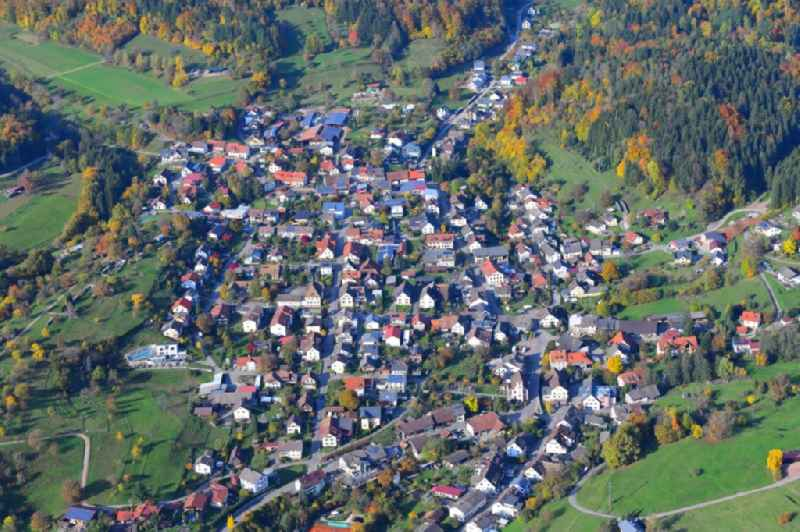 Town View of the streets and houses of the residential areas in Hasel in the state Baden-Wuerttemberg, Germany
