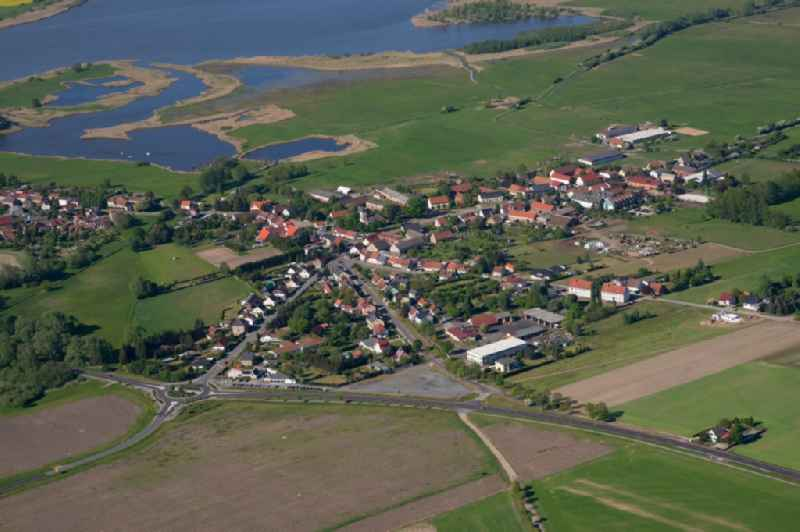 Village on the river bank areas Havel in Havelsee in the state Brandenburg, Germany