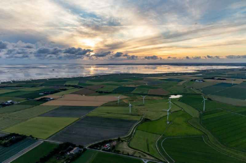 Wadden Sea of North Sea Coast with Windpark in Hedwigenkoog in the state Schleswig-Holstein, Germany