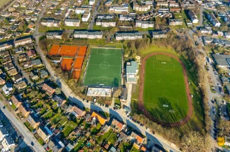 Ensemble of the sports grounds of the sports center Heessen with soccer field and tennis courts in Heessen in the state North Rhine-Westphalia, Germany