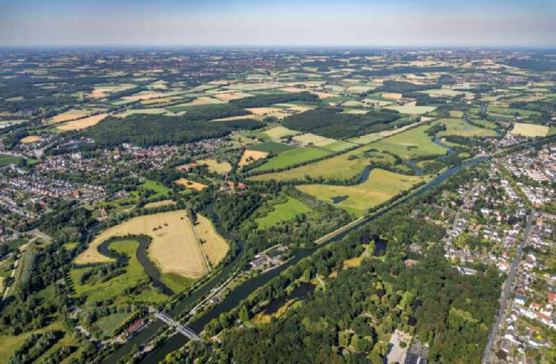 Curved loop of the riparian zones on the course of the river ' Muehlengraben ' in Hamm-Heessen in the state North Rhine-Westphalia, Germany