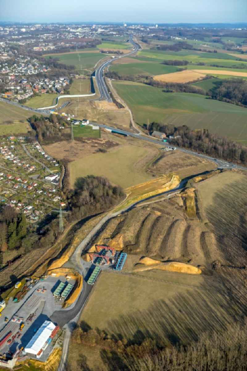 Highway construction site for the expansion and extension of track along the route of A44 near Hoefermuehle Sued in Heiligenhaus in the state North Rhine-Westphalia. Further information at: AMAND GmbH & CO. KG,  Landesbetrieb Strassenbau Nordrhein-Westfalen.
