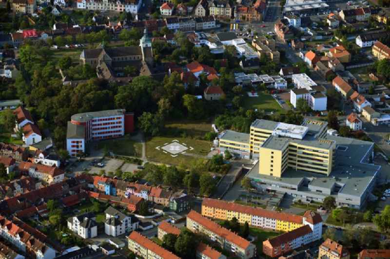 Hospital grounds of the Clinic Helios St. Marienberg Klinik in Helmstedt in the state Lower Saxony, Germany