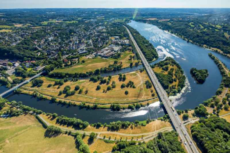 Curved loop of the riparian zones on the course of the river Ruhr in Herbede in the state North Rhine-Westphalia, Germany.