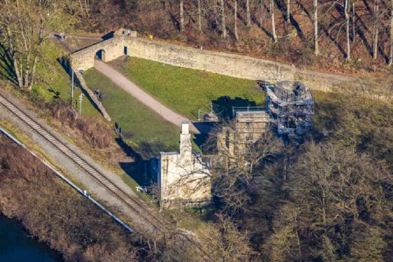 Restoration work on the ruins of the former castle and fortress 'Burgruine Hardenstein' in Herbede in the Ruhr area in the state North Rhine-Westphalia, Germany