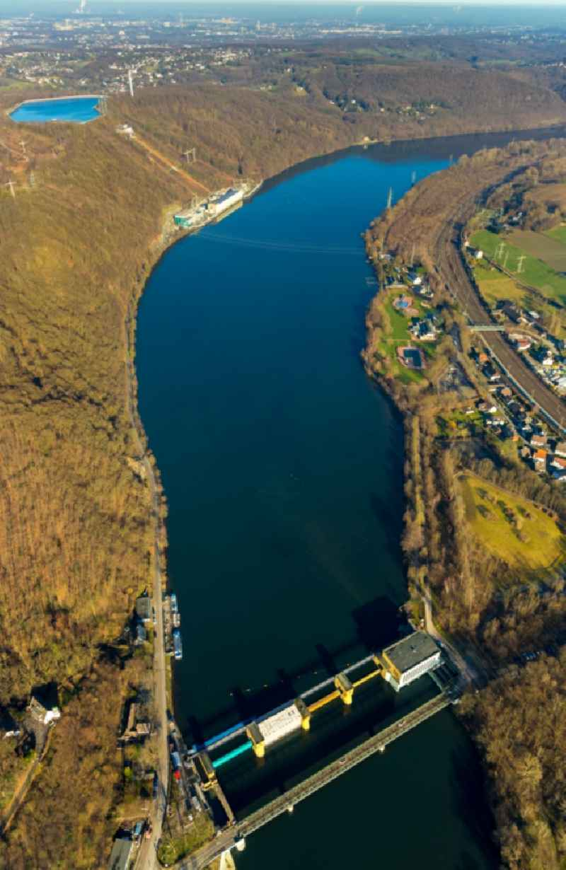 Impoundment and shore areas at the lake ' Hengsteysee ' in the district Ahlenberg in Herdecke in the state North Rhine-Westphalia, Germany.