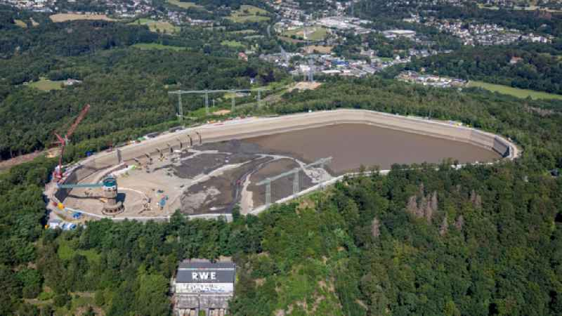 Construction site of Pumped storage power plant / hydro power plant with energy storage on Hengsteysee in Herdecke in North Rhine-Westphalia