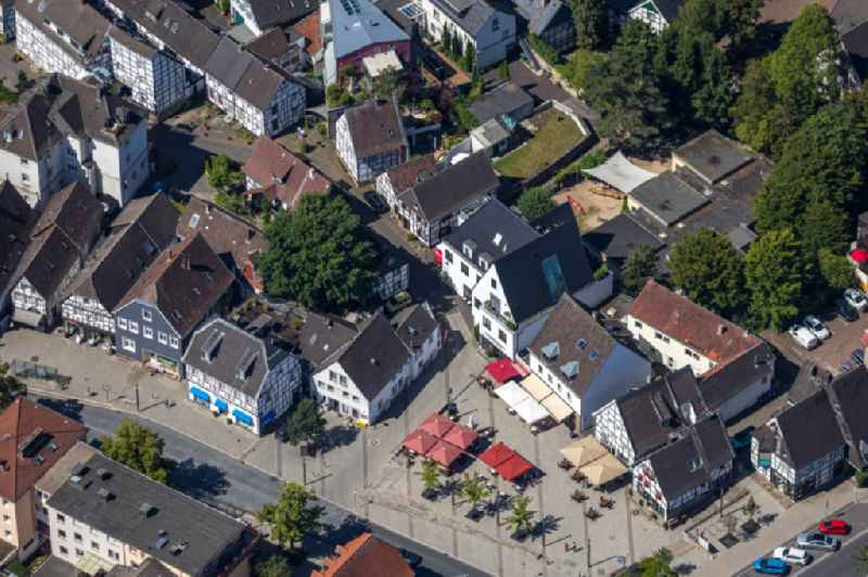 Half-timbered house and multi-family house- residential area in the old town area and inner city center on Kampstrasse in the district Westende in Herdecke in the state North Rhine-Westphalia, Germany