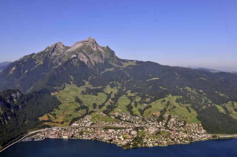 Rock and mountain landscape des Pilatus der Alpen in Hergiswil in Switzerland