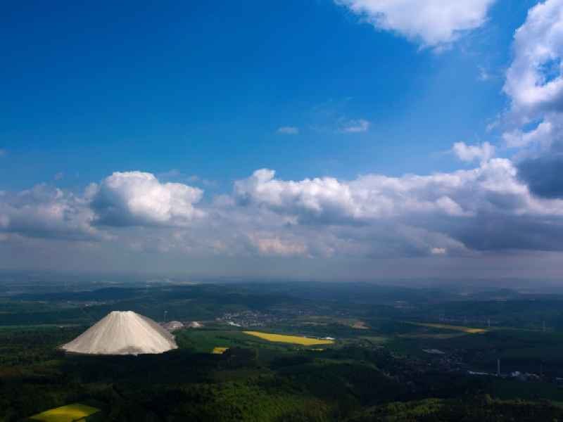 Monte Kali or Kalimandscharo a mine dump of the salt mining close by Heringen in Hesse. The mountain is a tourist attraction