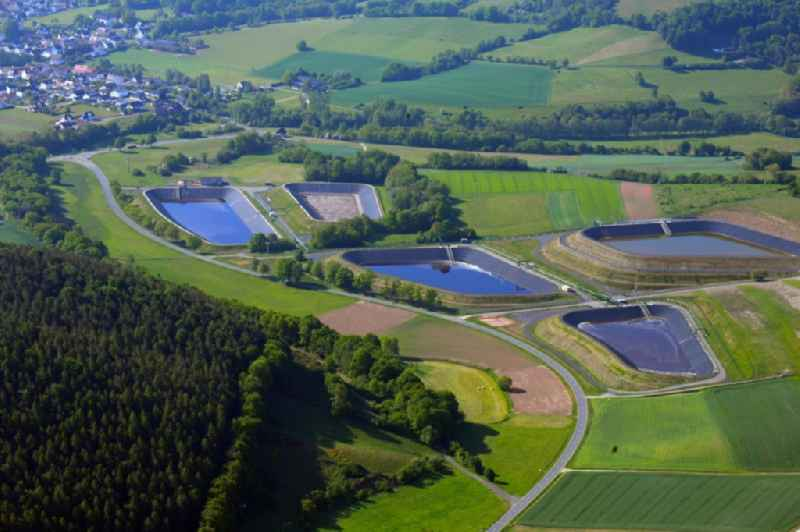 Sewage works Basin and purification steps for waste water treatment in the district Bengendorf in Heringen (Werra) in the state Hesse, Germany