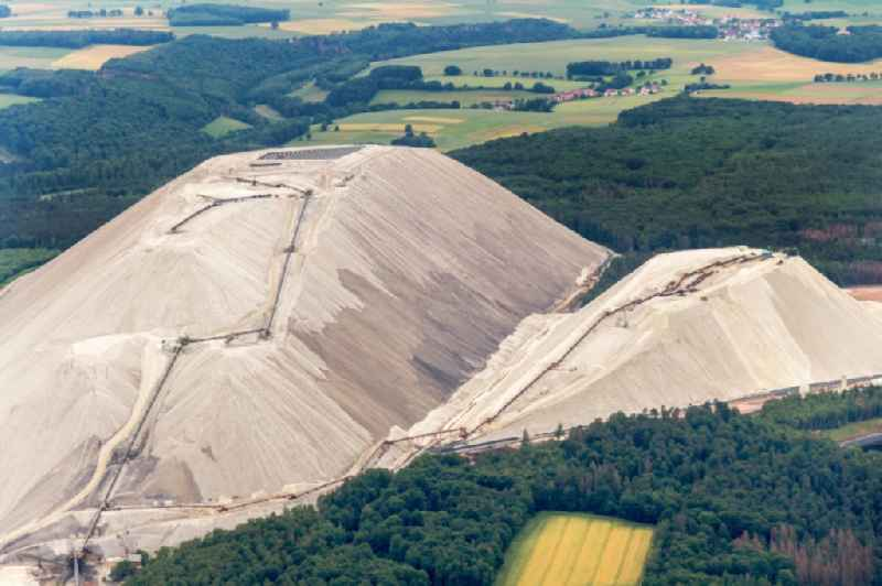 Site of the mining stockpile for potash and salt production ' Monte Kali ' in Heringen (Werra) in the state Hesse, Germany