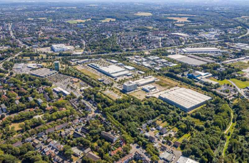 Industrial estate and company settlement along the Koniner Strasse and the Lindenallee in the district Wanne-Eickel in Herne in the state North Rhine-Westphalia, Germany