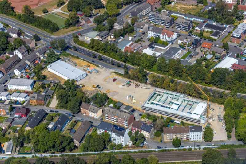 Construction site for the new building of a store of the supermarket on Steinstrasse - Berliner Strasse in the district Wanne-Eickel in Herne in the state North Rhine-Westphalia, Germany