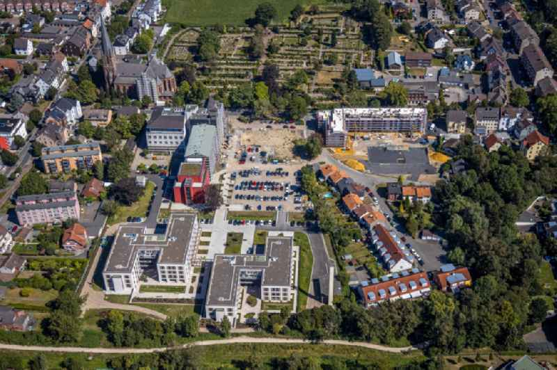 Construction site of the new buildings of the retirement home - retirement at ' Marienhospital-Herne II ' on Widumer Strasse in Herne in the state North Rhine-Westphalia, Germany