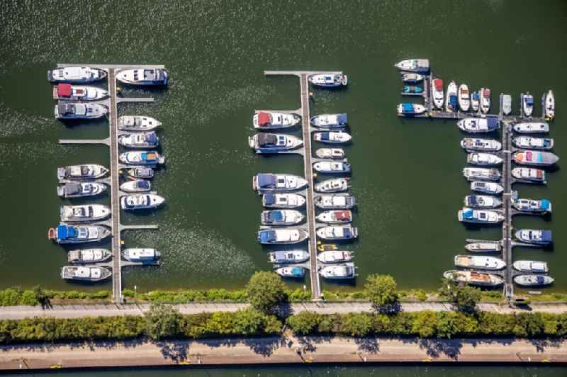 Pleasure boat marina with docks and moorings on the shore area of Rhein-Herne-Kanal on Gneisenaustrasse in Herne in the state North Rhine-Westphalia, Germany