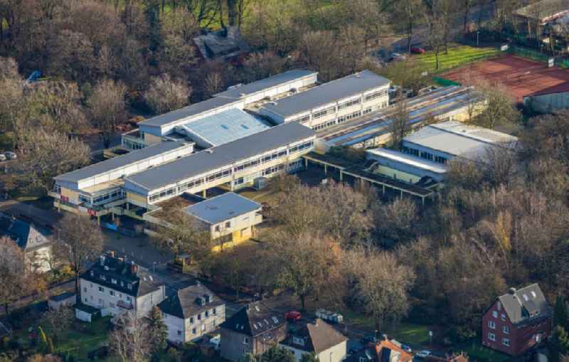 Aerial view of the school building of the Realschule an der Burg on Burgstrasse Eickel in Herne in the federal state of North Rhine-Westphalia, Germany